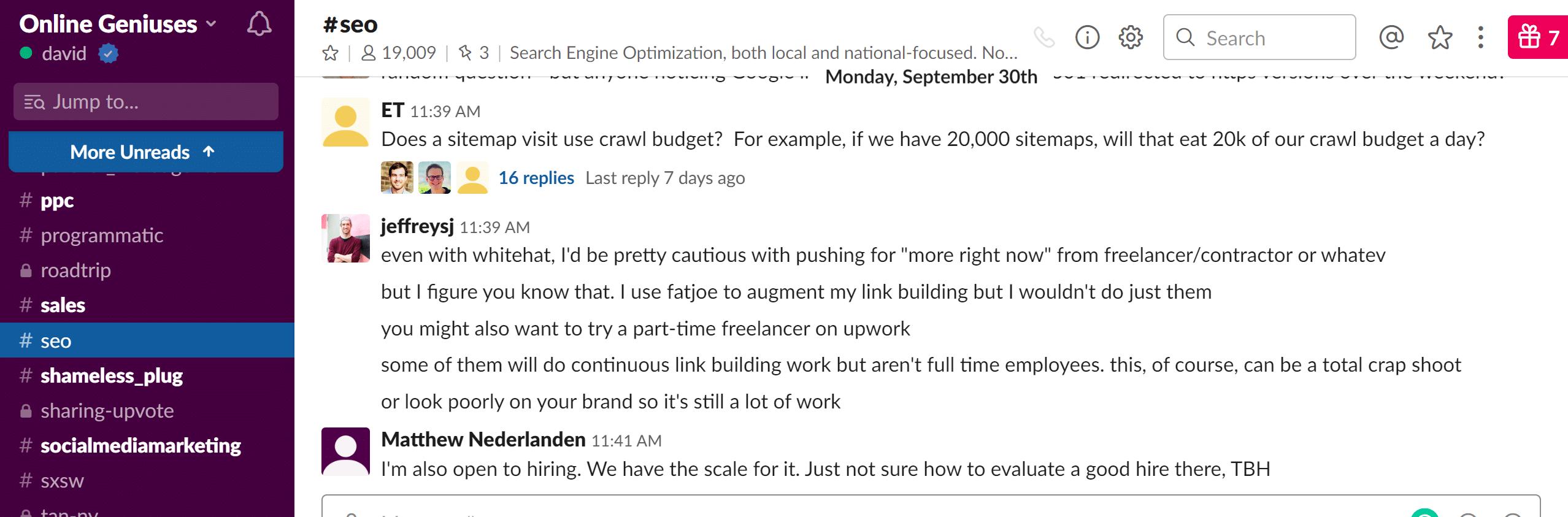 Online Geniuses Slack Community